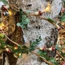 guirlande nature champignons et rubans carreaux rouge