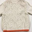Tricot torsadé laine bord orange