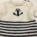 Tricot en laine Marin fabriqué par nos tricoteuses du mardi
